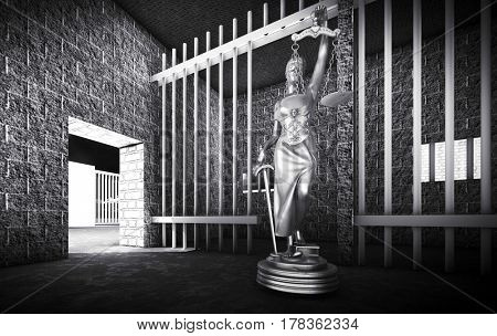 Prison bars and Lady of Justice 3d rendering