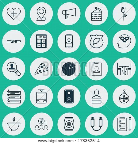 Set Of 25 Universal Editable Icons. Can Be Used For Web, Mobile And App Design. Includes Elements Such As Cake Piece, Privacy Information, Tree Toy And More.