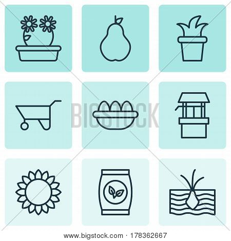 Set Of 9 Holticulture Icons. Includes Wheelbarrow, Grains, Ovum And Other Symbols. Beautiful Design Elements.