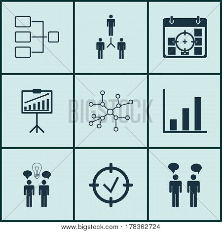 Set Of 9 Board Icons. Includes Report Demonstration, Co-Working, System Structure And Other Symbols. Beautiful Design Elements.