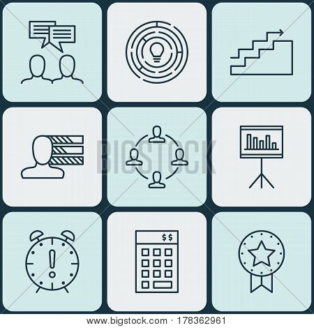 Set Of 9 Project Management Icons. Includes Present Badge, Presentation, Innovation And Other Symbols. Beautiful Design Elements.
