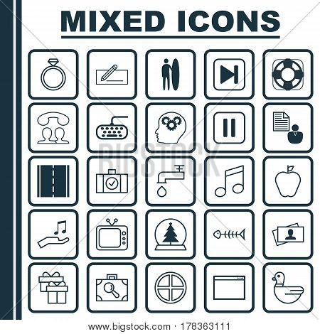 Set Of 25 Universal Editable Icons. Can Be Used For Web, Mobile And App Design. Includes Elements Such As Wedding Jewel, Program, Intellectual Process And More.
