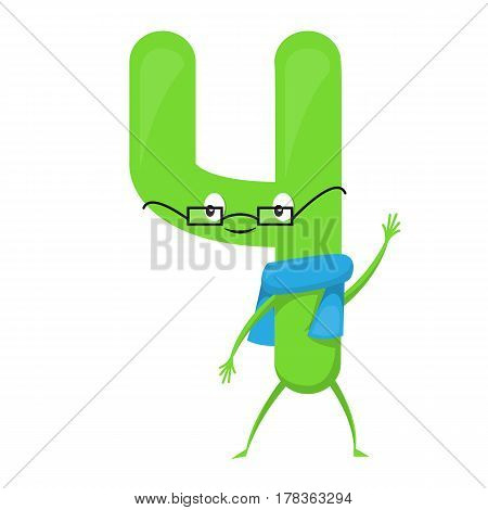 Four Cute fun colorful figure in the form of cartoon characters for kids isolated. Fourth Vector Illustration children s mathematical symbol, smiling.