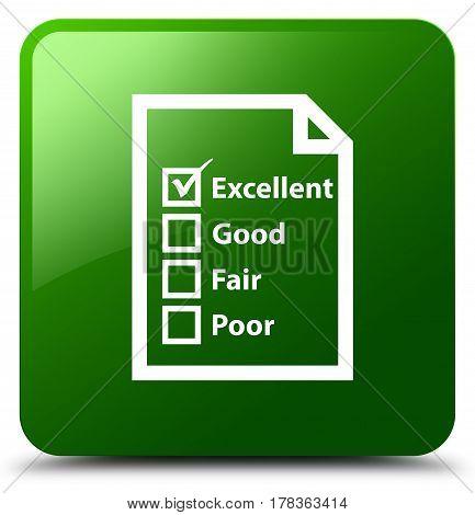 Questionnaire Icon Green Square Button