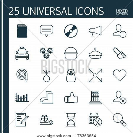 Set Of 25 Universal Editable Icons. Can Be Used For Web, Mobile And App Design. Includes Elements Such As Raise Diagram, Increase Loup, Follow And More.