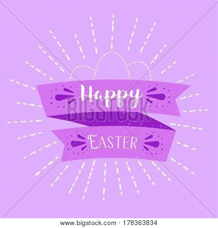 Happy Easter typography background with puple ribbon and calligraphyfor decoration banner or web design.