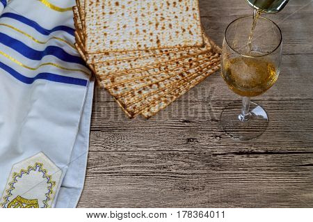 Matzo For Passover And Wine On Table