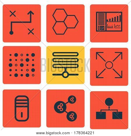 Set Of 9 Machine Learning Icons. Includes Mainframe, Variable Architecture, Information Components And Other Symbols. Beautiful Design Elements.