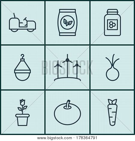 Set Of 9 Holticulture Icons. Includes Agrimotor, Hanger, Jar And Other Symbols. Beautiful Design Elements.