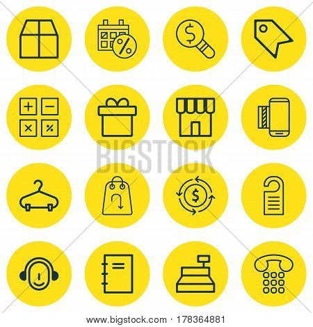 Set Of 16 Ecommerce Icons. Includes Refund, Price, Present And Other Symbols. Beautiful Design Elements.