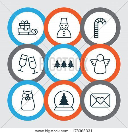 Set Of 9 Christmas Icons. Includes Archangel, Lollipop, Toboggan And Other Symbols. Beautiful Design Elements.