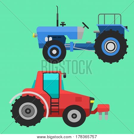 Set of different types of agricultural vehicles tractor harvester machine combines and excavators icon set with accessories for plowing mowing, planting and harvesting vector illustration.