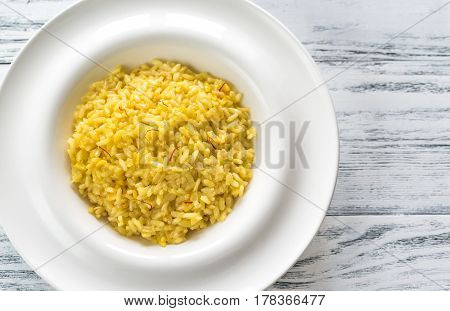 Portion of risotto alla Milanese: top view
