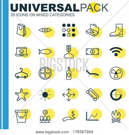 Set Of 25 Universal Editable Icons. Can Be Used For Web, Mobile And App Design. Includes Elements Such As Rubber Boot, Rich, Peg And More.
