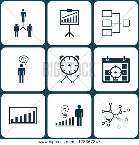 Set Of 9 Executive Icons. Includes System Structure, Company Statistics, Report Demonstration And Other Symbols. Beautiful Design Elements.