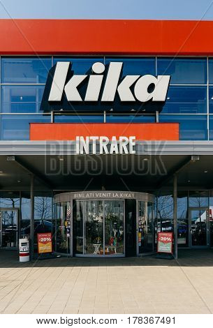 BUCHAREST, ROMANIA - APR 1, 2016: Vertical image of Kika logotype above the entrance facade of the furniture and household store. Kika is an international chain of furniture stores, headquartered in Austria. It has 70 stores, most of them in Europe.