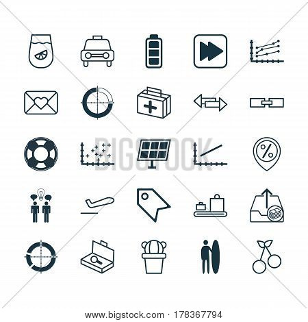 Set Of 25 Universal Editable Icons. Can Be Used For Web, Mobile And App Design. Includes Elements Such As Line Graph, Sun Power, Taxi And More.