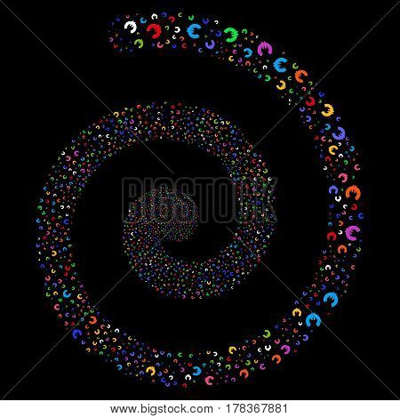 Euro salute whirlpool spiral. Vector bright multicolored scattered objects.