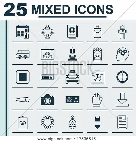 Set Of 25 Universal Editable Icons. Can Be Used For Web, Mobile And App Design. Includes Elements Such As Bathing Costume , Helianthus, Trip Handbag.