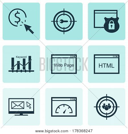 Set Of 9 Marketing Icons. Includes Keyword Marketing, PPC, Focus Group And Other Symbols. Beautiful Design Elements.