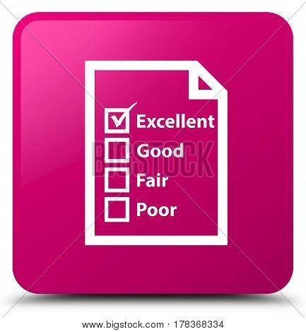 Questionnaire Icon Pink Square Button