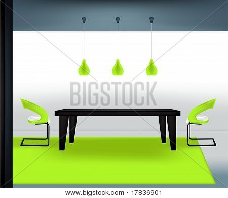 vector illustration of a modern dining room poster