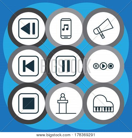 Set Of 9 Audio Icons. Includes Audio Mobile, Last Song, Song UI And Other Symbols. Beautiful Design Elements.