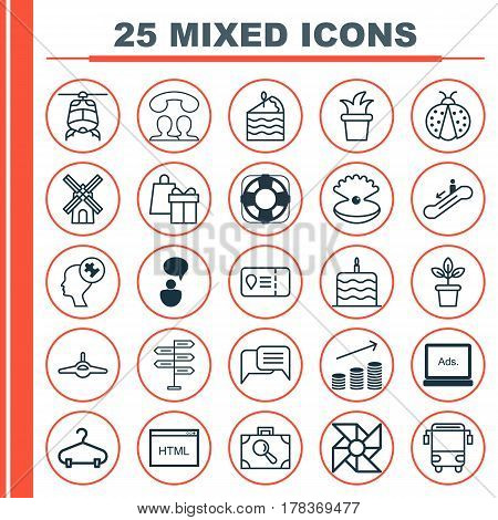Set Of 25 Universal Editable Icons. Can Be Used For Web, Mobile And App Design. Includes Elements Such As Flowerpot, Online Chatting, Digital Media And More.