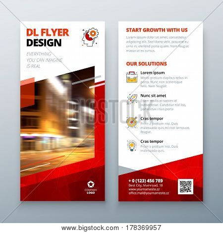 DL flyer design layout. DL Corporate business template for flyer. Layout with modern elements and abstract background. Creative concept vector flyer.
