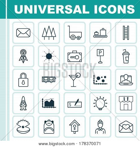 Set Of 25 Universal Editable Icons. Can Be Used For Web, Mobile And App Design. Includes Elements Such As Cocktail, Restaurant, Haversack And More.