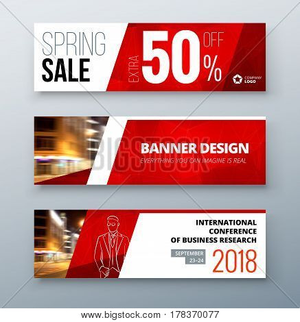 Banner template design. Presentation concept. Red Corporate business banner template background. Horizontal template banner stand or flag design layout. For conference, forum, shop, web site.