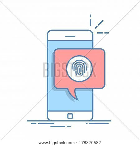 Dialog box on the phone with a suggestion to scan a fingerprint. Quick way to authorize in a mobile application. Thin line vector illustration
