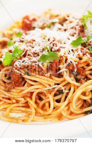 Italian bolognese pasta, spaghetti in ground beef and tomato sauce