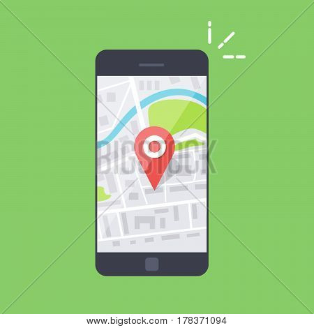 Smartphone with navigation app and red pin. Abstract generic city map with roads, parks, buildings, river. Vector illustration isoladen on color background