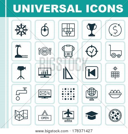 Set Of 25 Universal Editable Icons. Can Be Used For Web, Mobile And App Design. Includes Elements Such As Ovum, Spigot, Computer Network And More.