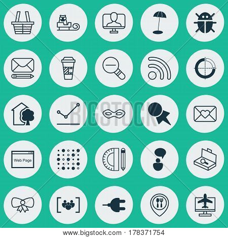 Set Of 25 Universal Editable Icons. Can Be Used For Web, Mobile And App Design. Includes Elements Such As Carnival Face, Website, Zoom Out And More.