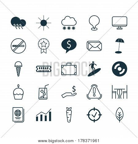 Set Of 25 Universal Editable Icons. Can Be Used For Web, Mobile And App Design. Includes Elements Such As Snowstorm, Raindrop, Dining Room And More.