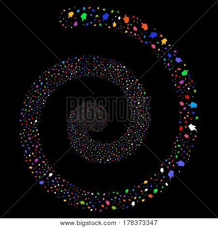 Index Finger festive concentric spiral. Vector bright multicolored random objects.