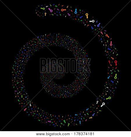 Key fireworks portal spiral. Vector bright multicolored scattered objects.