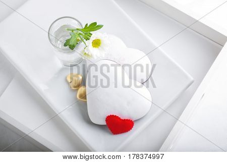 Colorful Valentine Cookies served on a white plate.