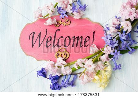 Welcome Note And Colorful Hyacinth Flowers