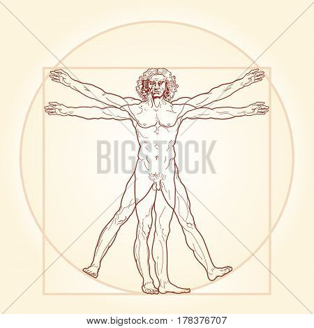 HOMO VITRUVIANO. So-called The Vitruvian man a.k.a. Leonardo's man. Detailed image drawing on the basis of artwork masterpiece by Leonardo da Vinci, performed by him circa 1490 (in 1487 or 1490 or 1492) by ancient manuscript of Roman master Vitruvius.