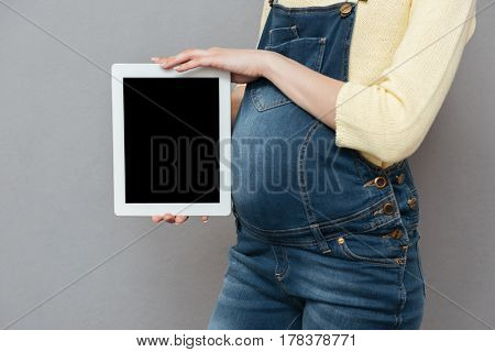 Cropped photo of pregnant woman wearing glasses standing isolated over grey wall while showing display of tablet computer.