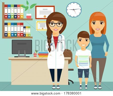 The mother with the child on reception at the doctor. Pediatrician. Health and medicine. The doctor's office.
