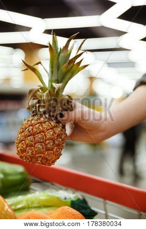 Cropped photo of young woman in supermarket with shopping trolley choosing fruits and holding pineapple.