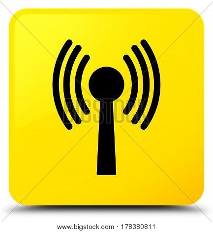 Wlan Network Icon Yellow Square Button