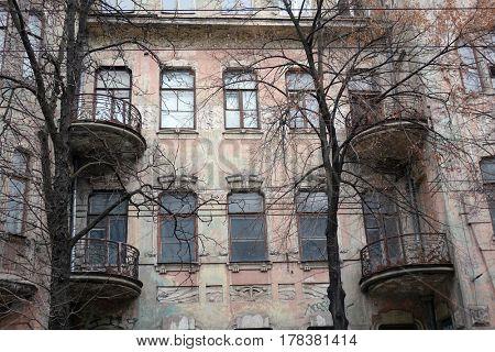 Front of the house of old Kiev, Velyka Zhitomirska street