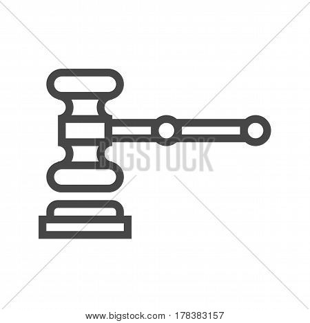 Auction Gavel Thin Line Vector Icon. Flat icon isolated on the white background. Editable EPS file. Vector illustration.
