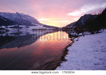 Lake In Austria Winter Sunset