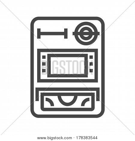 ATM Thin Line Vector Icon. Flat icon isolated on the white background. Editable EPS file. Vector illustration.